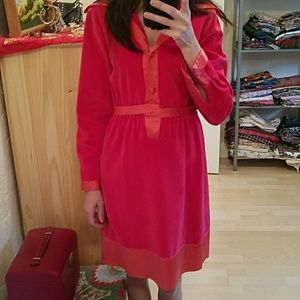 Vintage Pink Velvet Shirtdress